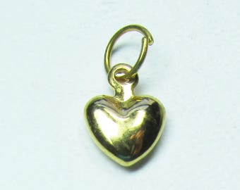 Nail Dangle Gold Plate over Sterling Silver Small Heart