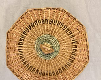 Wicker Basket Holder with Lid Turquoise Vintage Boho Style