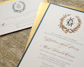 Wreath Wedding Invitation, Gold Wreath Monogram, Printable Wedding Invitation, Gold Wedding, Wedding Monogram, Gold Invitation