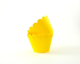 Yellow Cupcake Wrappers Cupcake Wraps Party Supplies Table Decor Set of 12