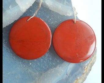 New,Red River Jasper Gemstone Round Earring,43x4mm,27.5g