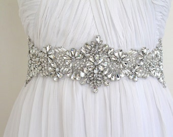 Bridal  Crystal Pearl Wide Beaded Luxury Sash. Wedding Dress Thick Rhinestone Pearl Belt.