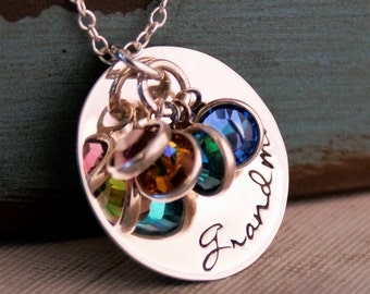 Grandma or Mommy Necklace / Hand Stamped Jewelry / Personalized Grandma jewelry / Grandmother necklace with birthstones / Gift for Grandma