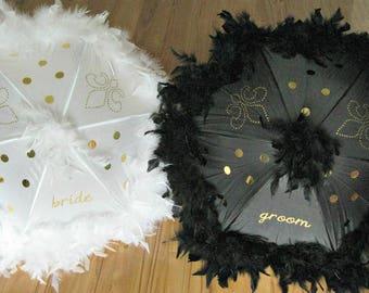 BRIDE and GROOM Second Line Wedding Umbrellas, New Orleans Destination Wedding, Parasols, Second Line Umbrellas, Second Line Parade, Mr Mrs