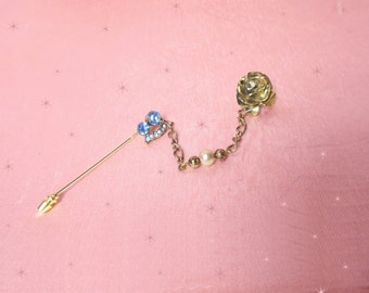 Vintage Stickpin Set is a 3 in 1 Pin, OOAK Design, Handmade Stickpin and Rose Pin, an Original Design & Unique Jewelry Gift in Gift Box