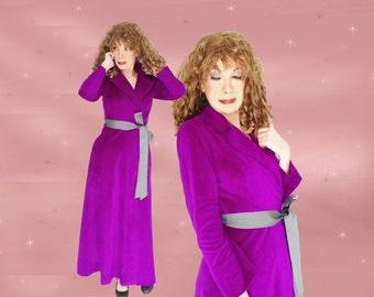 Long Wrap Robe, Full Length Robe, Plush Fleece Robe, Vintage Wrap Robe,  Plush Wrap Robe, Vanity Fair Bathrobe, Purple Dressing Gown Wrapper