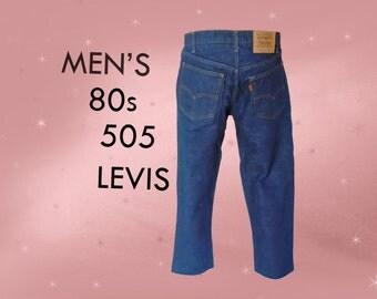 Men's Vintage 505 Levi's - Levi Jeans for Men - 33/30 Indigo - MINT - 80s