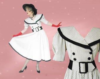 Spring Midi Dress - Retro Big Skirt Dress - Womens 80s Vintage Dress - Black and White - Wide Belt - Portrait Collar - Unused Vintage Dress