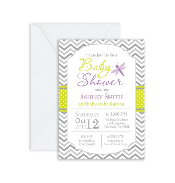Dragonfly Baby Shower Invitation Green Purple