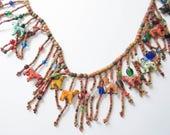 Animal Beaded Fetish Folk Art Necklace Vintage Tribal Jewelry Camel Tiger Elephant
