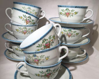 Hand Painted Japanese Cups and Saucers