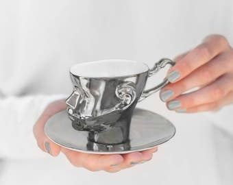 Silver porcelain cup - ceramic cup for coffee or tea, luxurious handmade gift