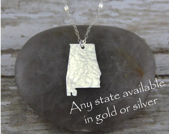 Silver Alabama Necklace - Sterling Silver Alabama State Necklace - Alabama Pendant - Going Away Gift - Bridesmaid Gift