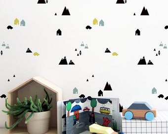 mountains wall stencils
