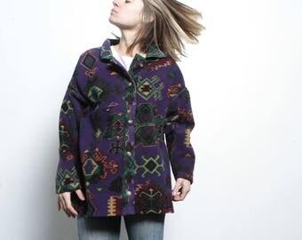 Columbia brand 90s SLOUCHY ikat style parka SOUTHWEST oversize large FLEECE sweatshirt jacket