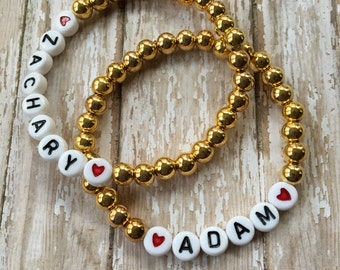 6mm Gold Tone Beaded Bracelet-Stretch Bracelet-Any Name Word or Phrase-White Letter Beads-ID Bracelet-Stackable