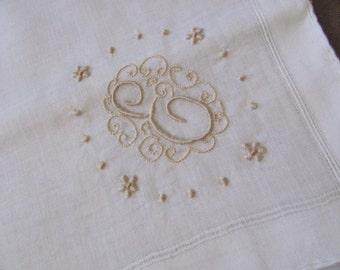Vintage Solid White Cotton Hankie Monogrammed E