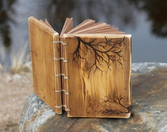 Wedding guest book Rustic wood journal with branches Coptic stitched Wood Anniverasry gift