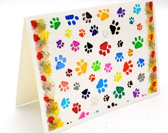Dog Paws Original Watercolor Art Card, Hand Painted Colorful Multi Colored Wall Art Hand Stenciled Watercolor Greeting Card for Dog Lovers