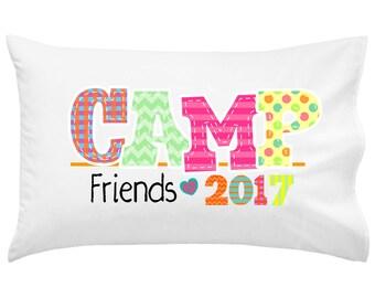 Camp Friends Girl Camp Pillowcase | Autograph Summer Camp Pillowcase | Sleepaway Camp Pillow Cover | Camp Pillow