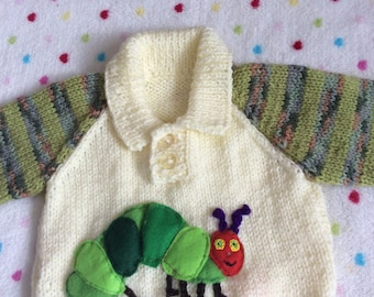 Polo style sweater featuring hungry caterpillar to fit newborn boy
