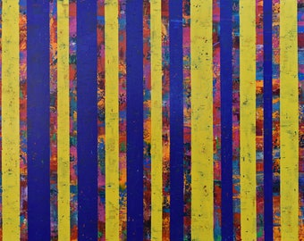 Abstract Painting...Painting on Canvas...Original Art...Blue Abstract...Large Wall Art...Striped Painting...Modern Art