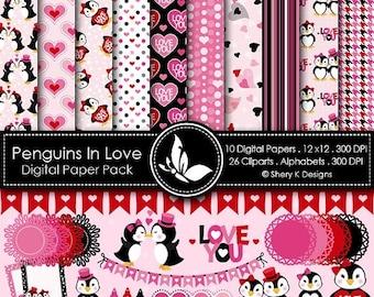 40% off Penguins In Love Paper Pack - 10 Digital papers 12 x12 300 DPI - 26 Cliparts - 3 Alphabet sets - 300 DPI
