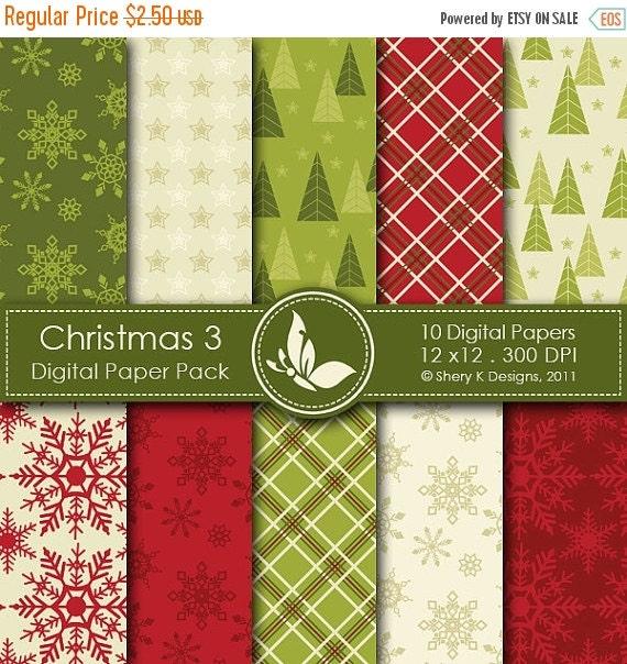 40% off Christmas 3 Paper Pack - 10 PrintableDigital papers - 12 x12 - 300 DPI ////// 3