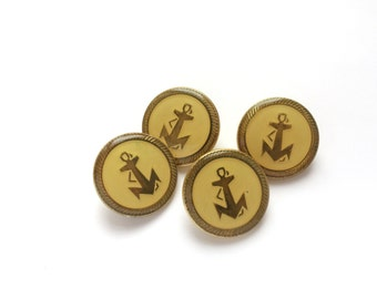 4 Anchors Buttons, Vintage Antique Gold Metal & Yellow Buttons