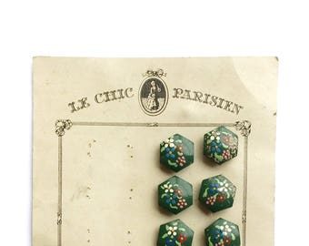 14 Antique French Hand Painted Wooden Flower Buttons