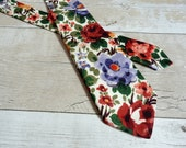 Liberty Print Tie - Floral Wedding Tie - Colourful Necktie - Orange Floral Tie - Green Floral Tie - Gifts for Dads - Gifts for Husband