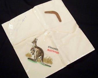 ON SALE Vintage Australia Souvenir Hankie 1960s Embroidered Kangaroo Mini Boomerang NOS