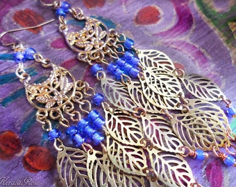 "Delicate Gold Leaf Charm Delicate Chandelier Earrings, Small 3"" or  4"" Long, Bohemian,Periwinkle Blue, Color Options!, Clip-On Option"