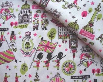 Japanese Fabric Cotton Kokka, London Print, London Fabric, Kids Fabric, Fun Fabric - My London - a yard