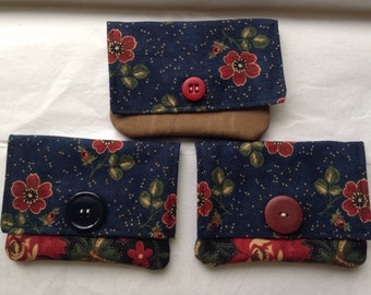 3 different cotton wallets