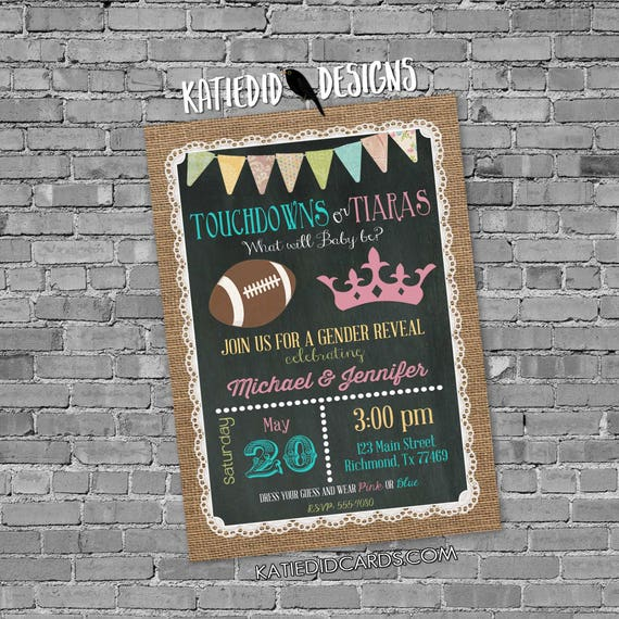 gender reveal invitation touchdown or tiara 1472 lace country rustic burlap bunting chalkboard gender neutral baby shower  shabby chic
