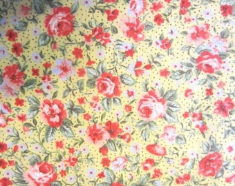 Floral Print, Tiny flowers on a Yellow background