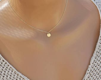 Initial Necklace, Personalized Choker Necklace, Tiny Monogram Charm Necklace, Bridesmaid Gift, Friend Gift, Sister Gift, 14kGF, S/S, RG, 7MM