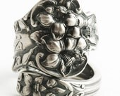 "Vintage Magnolia Sterling Silver Spoon Ring in Antique Watson ""Bridal Flower"" Pattern of 1910, Engraved N, Mono ""N"", Adjustable Size (6449)"