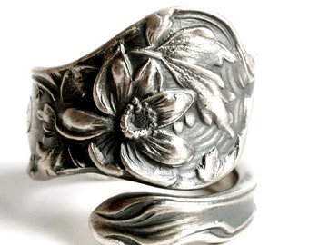 Lotus Ring, Sterling Silver Spoon Ring, Lotus Flower Ring, Lotus Jewelry, Flower Spoon Ring, Shiebler Fiorito, Adjustable Ring Size (6136)