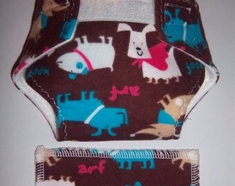 Baby Doll Diaper/wipe - dogs with decorative neck scarves/leashes  - adjustable for many dolls such as bitty baby