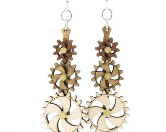 Kinetic Gear Earrings #5009A- Laser Cut from Reforested Wood