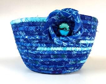 Small Handmade Basket   Hand Coiled Rope   Clothesline Bowl   Aqua Ombre Organizer - Fiber Art Decor - Upcycled Planter- Fabric Bowl Petite