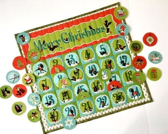 Advent Calendar - Children Activity Panel - Quilted Wall Hanging - Christmas Countdown Heirloom Keepsake - Holiday Decor - Christmas Quilt