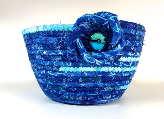 Handmade Rope Basket : Small handmade basket hand coiled rope clothesline bowl