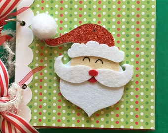 Santa scrapbook album  Christmas album   stocking stuffer  premade album