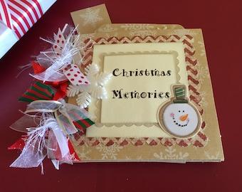 Christmas premade scrapbook  paper bag album Holiday album stocking stuffer