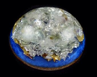 Orgone Generator Pocket Size with Tibetan Crystal, Phenacite, Petalite, Moldavite, Rhodizite, Elite Shungite, Selenite, Tourmaline (w15)