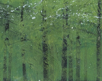 Semi-abstract landscape original painting - Silent green