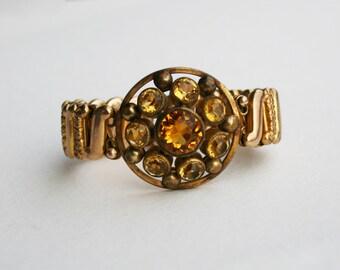 Art Deco Gold Filled Vintage Yellow Glass Expandable Bracelet Signed Victoria Expansion Bracelet